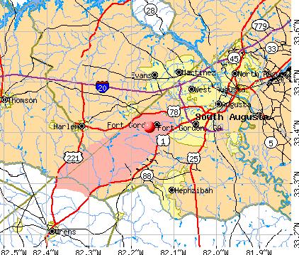 Fort Gordon, GA map