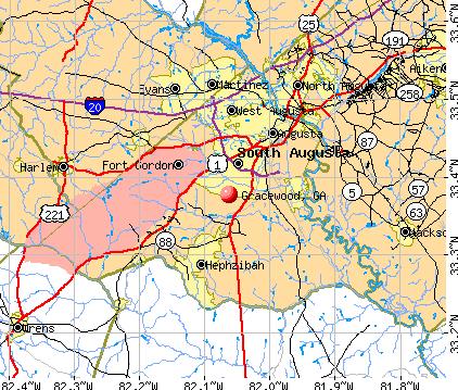 Gracewood, GA map