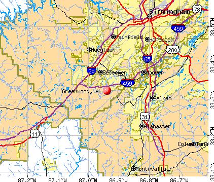 Greenwood, AL map