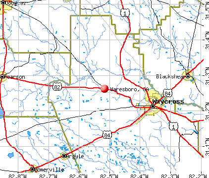 Waresboro, GA map