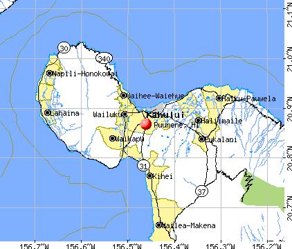 Puunene, HI map