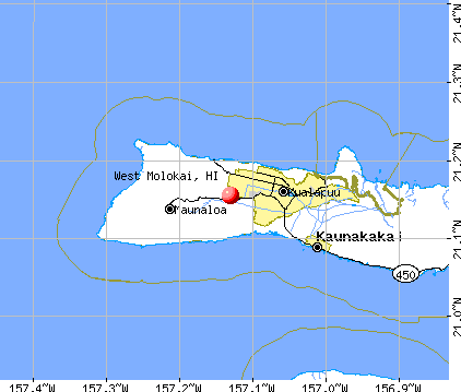 West Molokai, HI map
