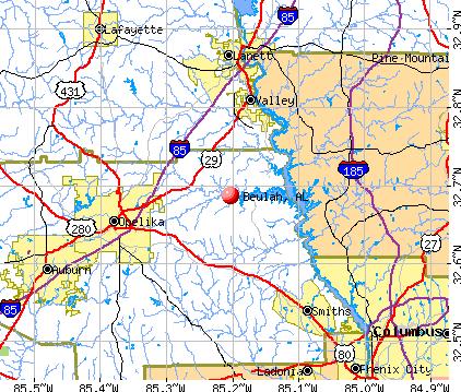Beulah, AL map