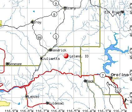 Leland, ID map