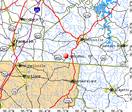 Adolphus, KY map