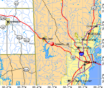 Semmes, AL map