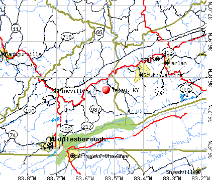 Tejay, KY map