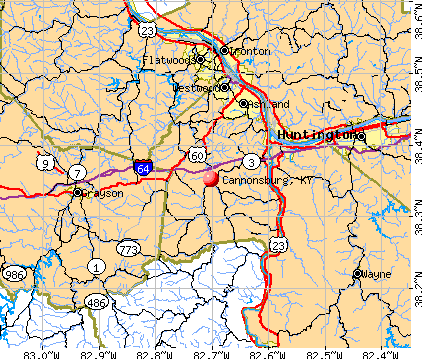 Cannonsburg, KY map