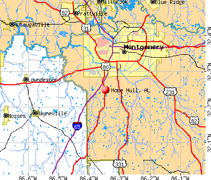 Hope Hull, AL map