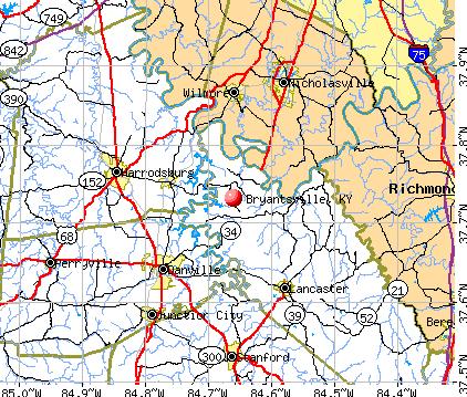 Bryantsville, KY map