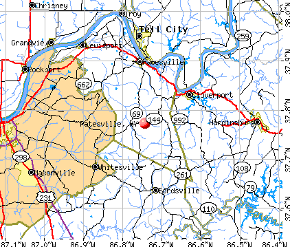 Patesville, KY map