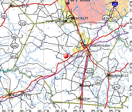 Cecilia, KY map