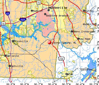Laceys Spring, AL map