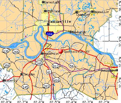 Spottsville, KY map
