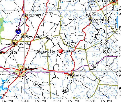 Center, KY map
