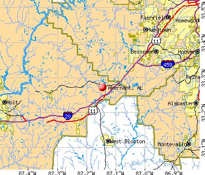 Abernant, AL map