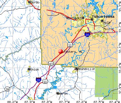 Fosters, AL map