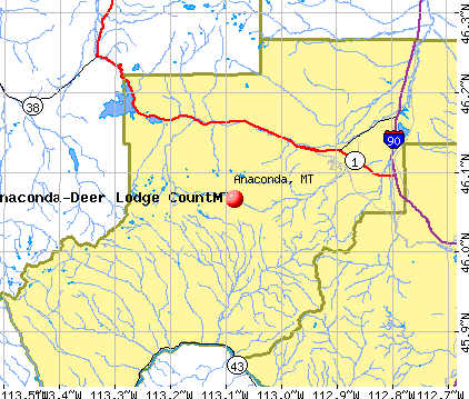 Anaconda, MT map