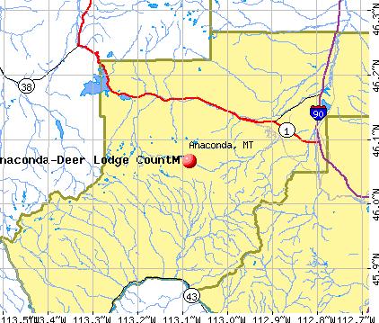 Anaconda, MT map