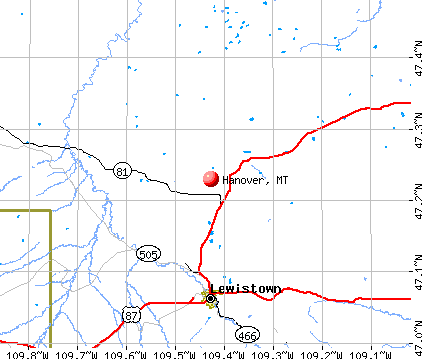 Hanover, MT map