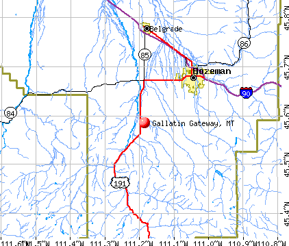 Gallatin Gateway, MT map
