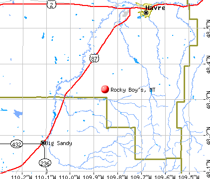 Rocky Boy's, MT map