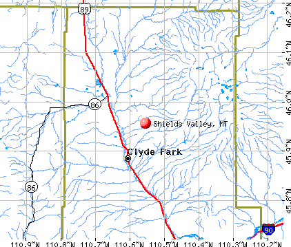 Shields Valley, MT map