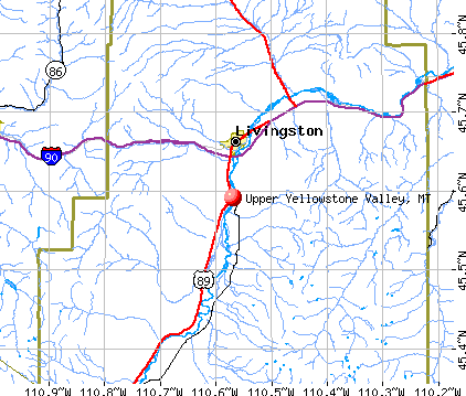 Upper Yellowstone Valley, MT map