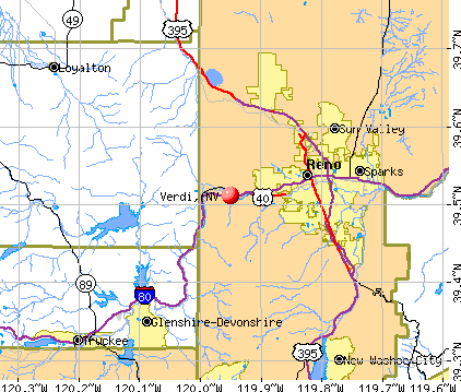 Verdi, NV map