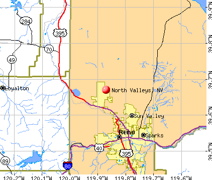 North Valleys, NV map