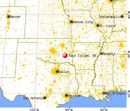 Twin Cities, Oklahoma map