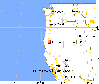 Northwest Jackson, Oregon map