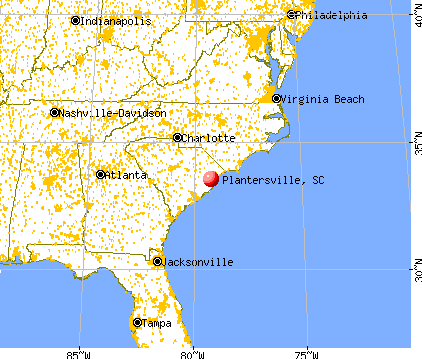Plantersville, South Carolina map