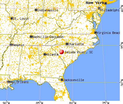 Saluda River, South Carolina map