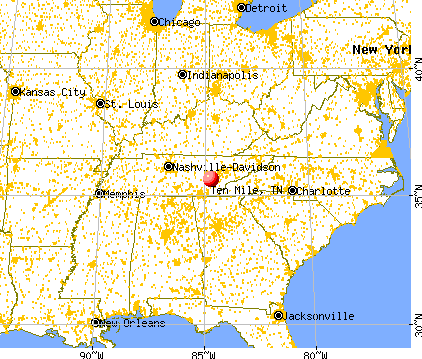 Ten Mile, Tennessee map