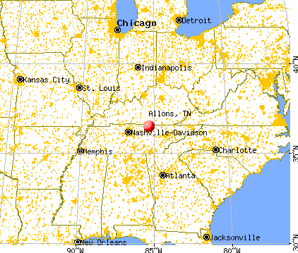 Allons, Tennessee map