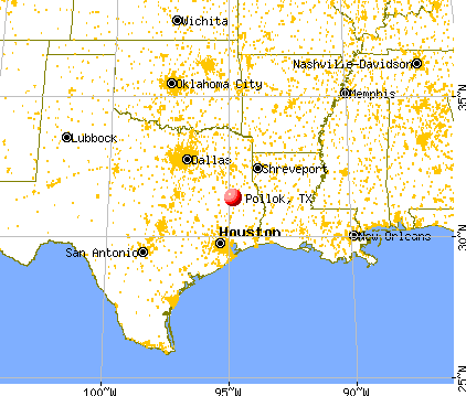 Pollok, Texas map