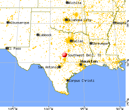 Southwest Bell, Texas map