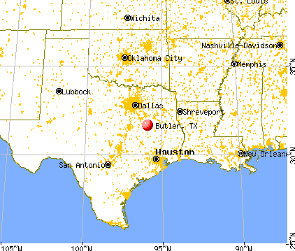 Butler, Texas map