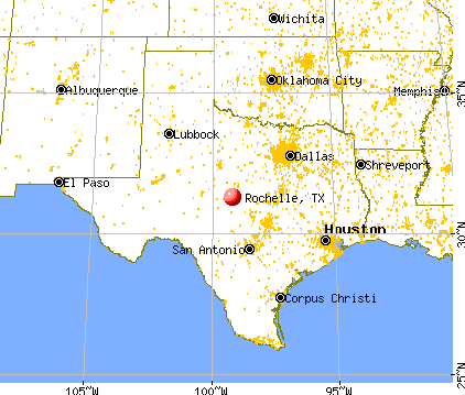 Rochelle, Texas map