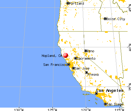 Hopland, California map