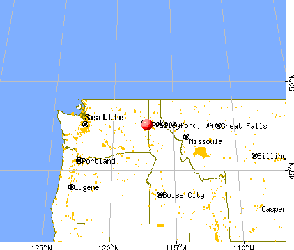 Valleyford, Washington map