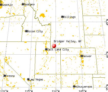 Bridger Valley, Wyoming map