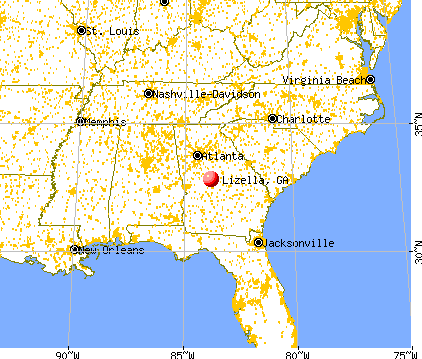 Lizella, Georgia map