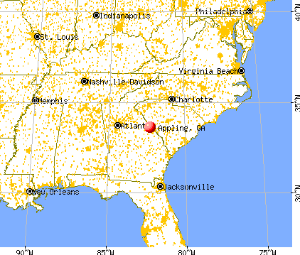 Appling, Georgia map