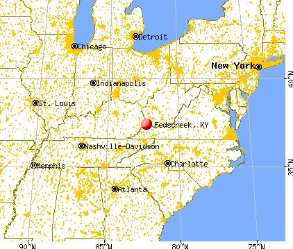 Fedscreek, Kentucky map