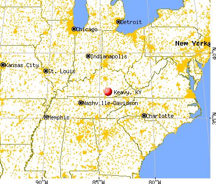 Keavy, Kentucky map