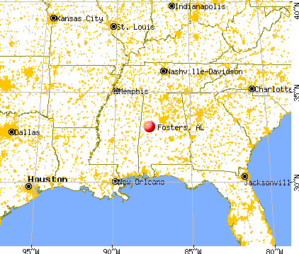 Fosters, Alabama map