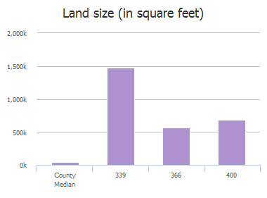 Land size (in square feet) of Courtney Lane, McKinney, TX: 300, 301, 302, 303, 304, 305, 339, 366, 400, 400