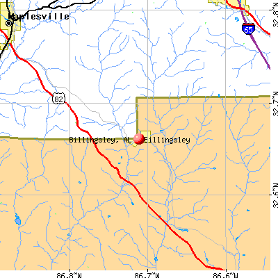 Billingsley, AL map